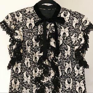 ANNA SUI Black Velvet & Lace Dress